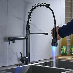 LED Pull Down Spray Kitchen Sink Faucet Black Pull Down Spra