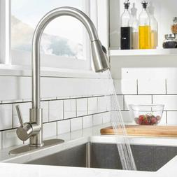 Stainless Steel Kitchen Sink Faucet Pull Out Sprayer Single