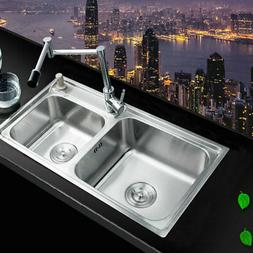 Stainless Steel Kitchen Sink Vessel Set With Chrome Swivel F