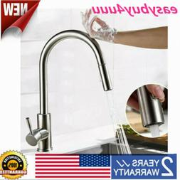 Touch Sensor Kitchen Sink Faucet Pull Out Mixer Tap Brushed