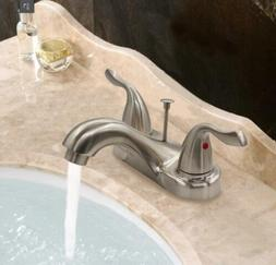 Two-Handle Centerset Bathroom Faucet with Drain Assembly, Br